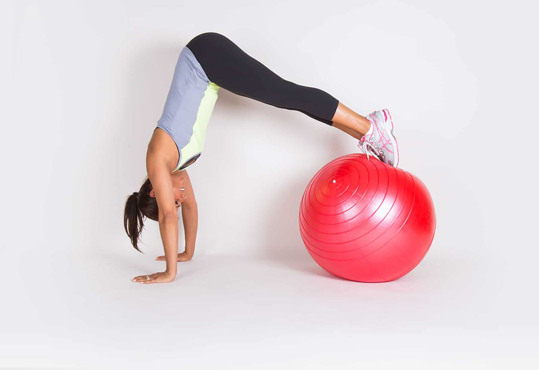 Woman doing exercise on a yoga ball